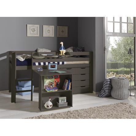 VIPACK Spielbett mit Schreibtisch, Hängeregal und Schubladenkommode Pino taupe