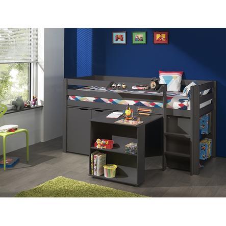 VIPACK dětská postel s psacím stolem, regálem, závěsnou policí a komodou Pino šedá