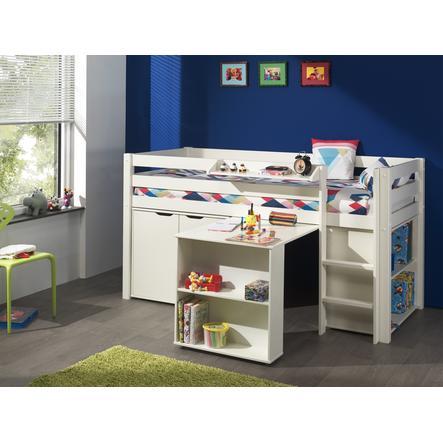 VIPACK Letto rialzato con scrivania, mensole, mensola pensile e mobiletto Pino bianco