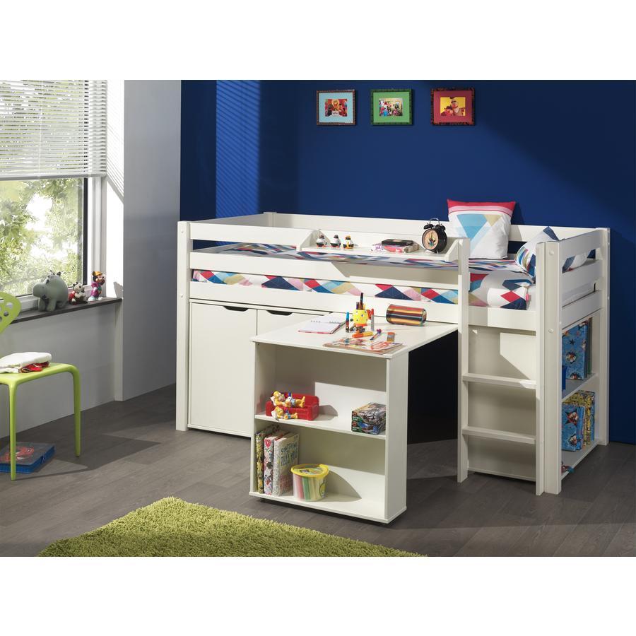 VIPACK Cama a juego con escritorio, estante, repisa para colgar y cómoda Pino blanco