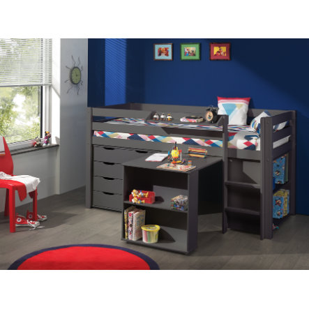 VIPACK dětská postel s psacím stolem, regálem, závěsnou policí a komodou se zásuvkami Pino šedá