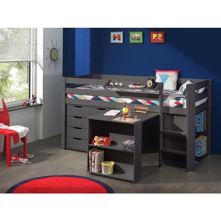 VIPACK Cama a juego con escritorio, estante, repisa para colgar y cajonera Pino topo