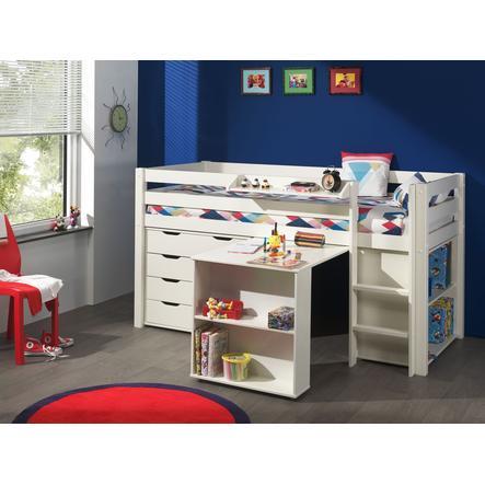 VIPACK Spielbett mit Schreibtisch, Regal, Hängeregal und Schubladenkommode Pino weiß