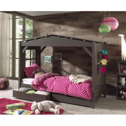 VIPACK Spielbett-Haus mit Bettschubladen Pino taupe