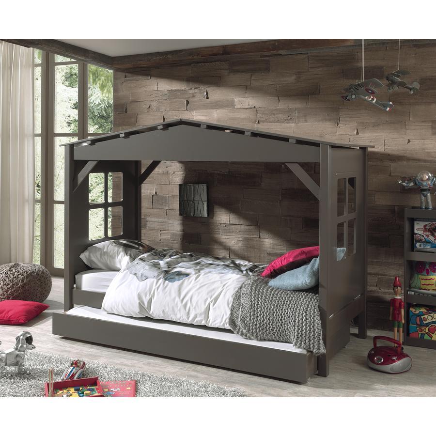VIPACK Spielbett-Haus mit Bettschublade Pino taupe