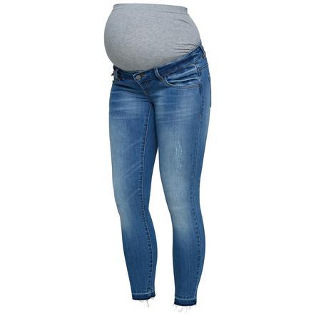 mama licious Jeans de maternité MLNAGA 7/8 Bleu clair en denim