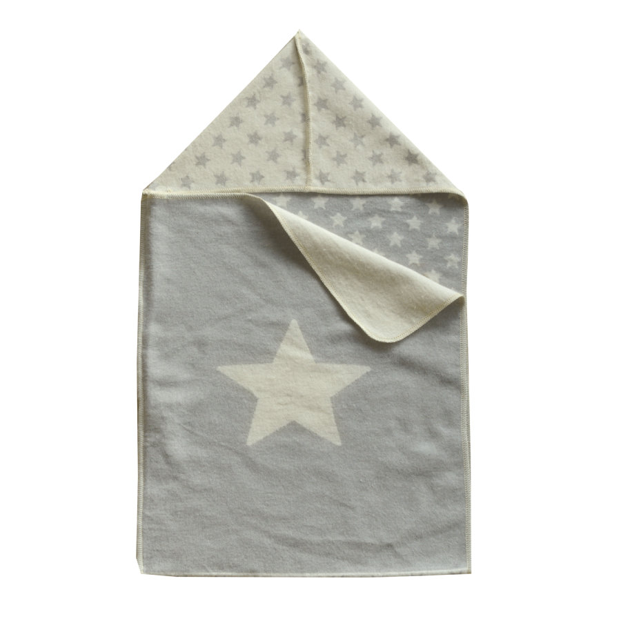DAVID FUSSENEGGER Couverture bébé capuche étoile feutre 45x76 cm