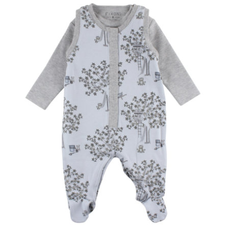 FIXONI Baby Strampler soft blue tree