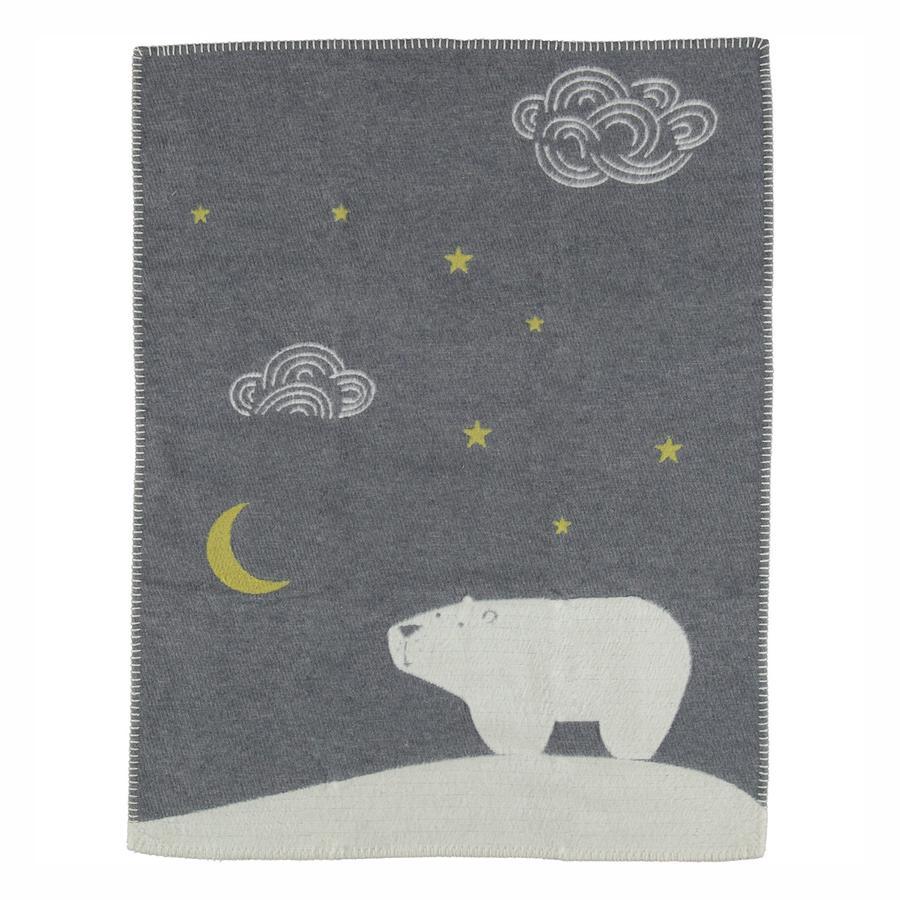 DAVID FUSSENEGGER Couverture bébé ours polaire gris 65x90 cm