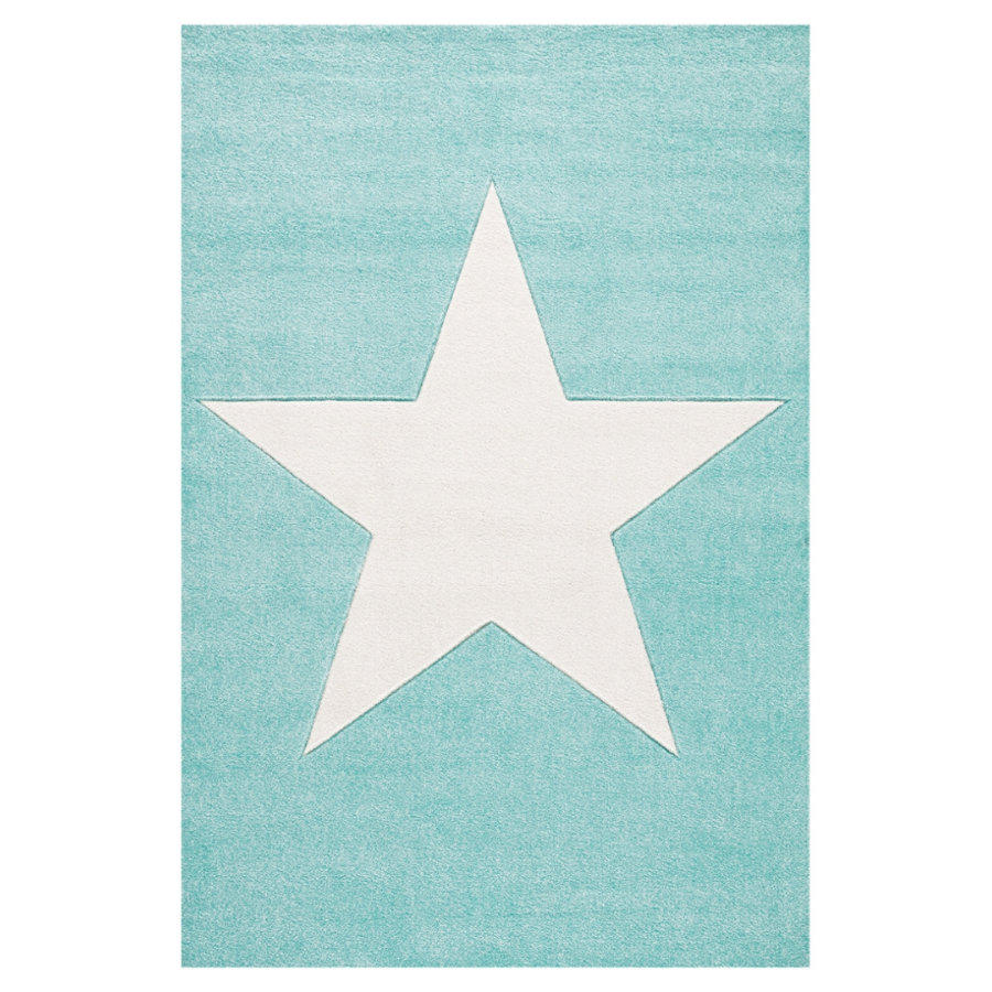 LIVONE Barnmatta Happy Rugs Star mint/vit 100 x 160 cm
