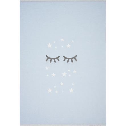 LIVONE Barnmatta Happy Rugs Sleeping Eyes, himmelblå/vit, 140 x 190 cm