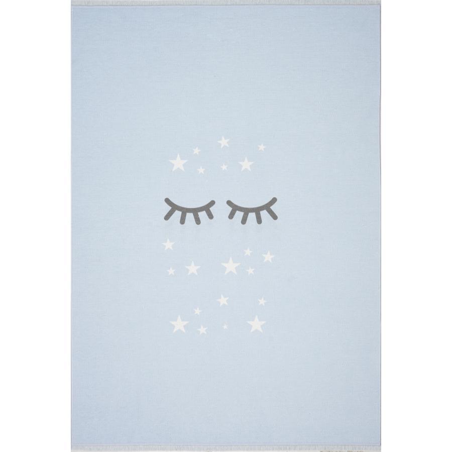 LIVONE Gulvtæppe Happy Rugs Sleeping Eyes, himmelblå/hvid 140 x 190 cm