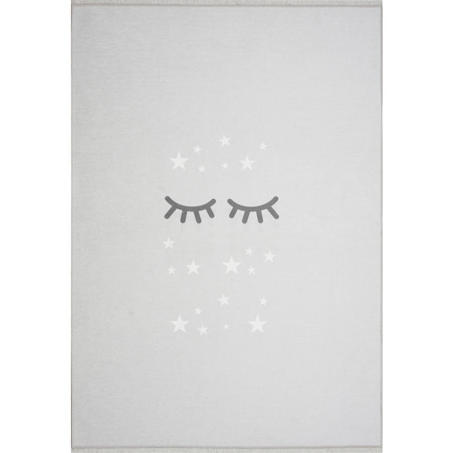 LIVONE lek og barneteppe Happy Rugs Sleepi ng Øyne, sølvgrå / hvit, 100 x 160 cm