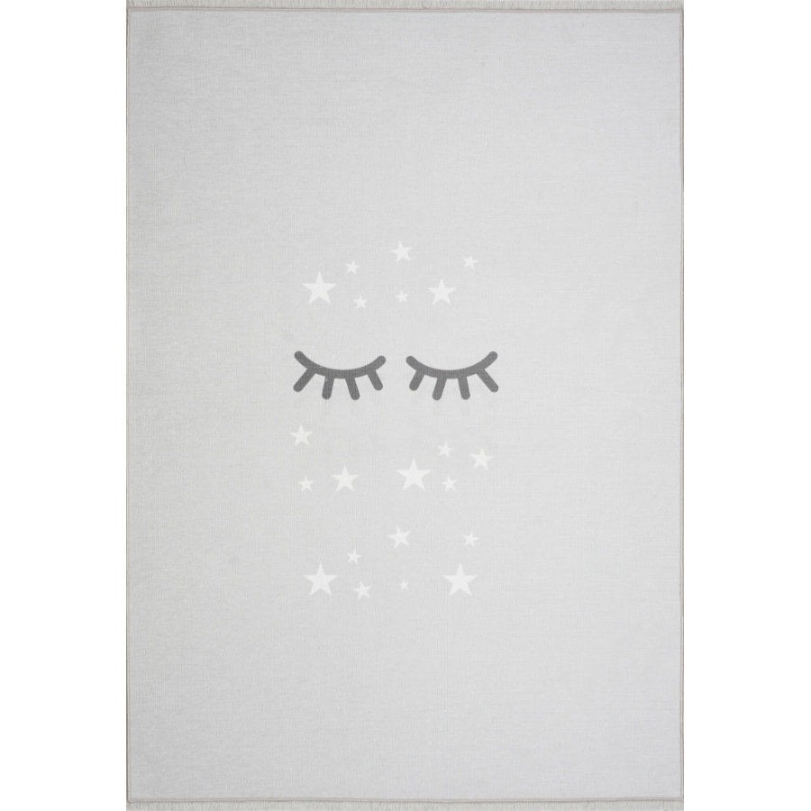 LIVONE play a dětský koberec Happy Rugs Sleepi ng Eyes, silver grey / white, 100 x 160 cm