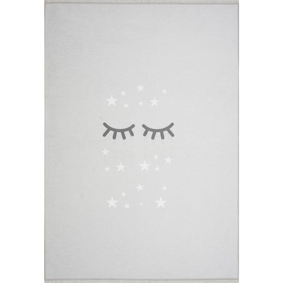 LIVONE Spiel- und Kinderteppich Happy Rugs Sleeping Eyes, silbergrau/weiss, 100 x 160 cm