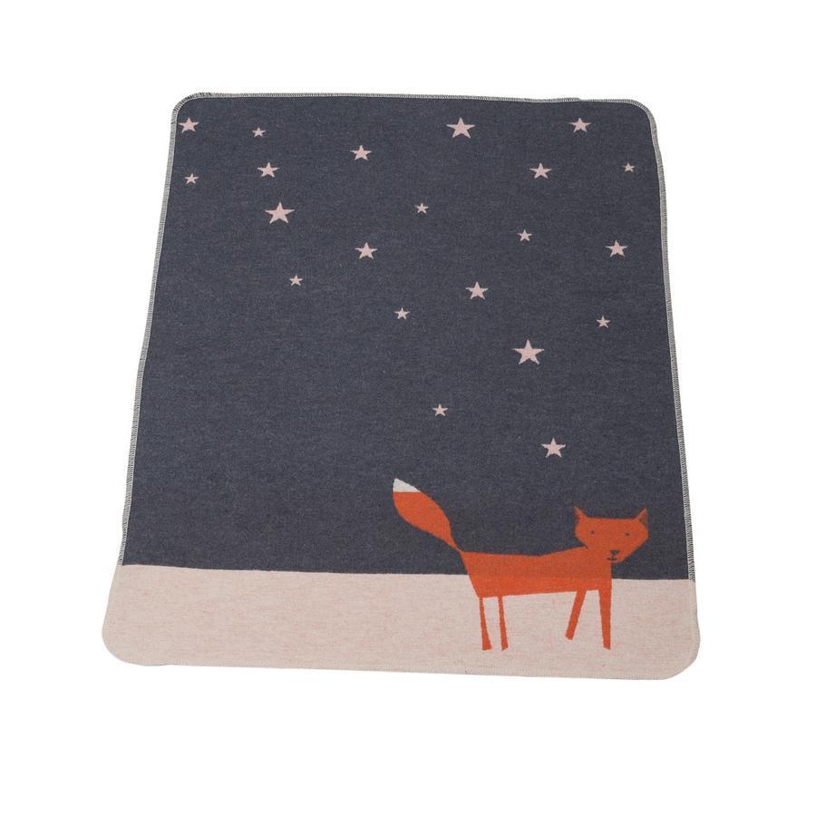 DAVID FUSSENEGGER Dětská přikrývka liška pod hvězdami šedá 70 x 90 cm