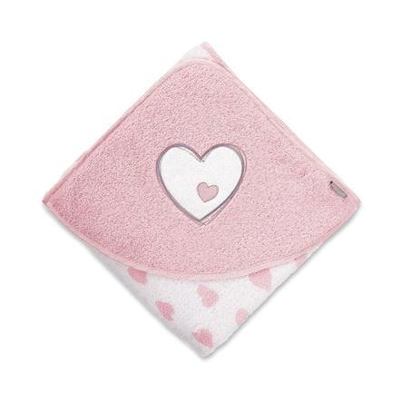 Sterntaler badehåndkle Emmi Girl Heart 100x100 hvit