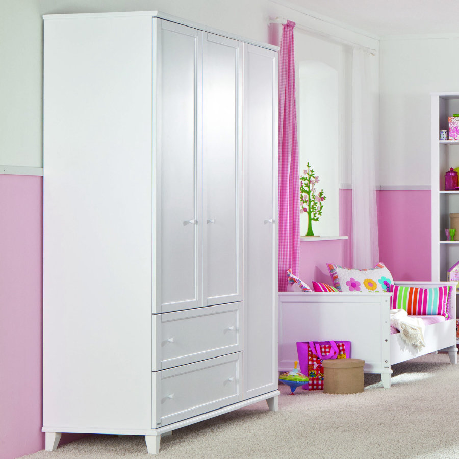 paidi kleiderschrank sophia 3 t rig mit schmalen schubladen. Black Bedroom Furniture Sets. Home Design Ideas