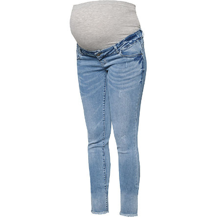 mama licious Capri maternità jeans MLCRINKLE blu chiaro denim