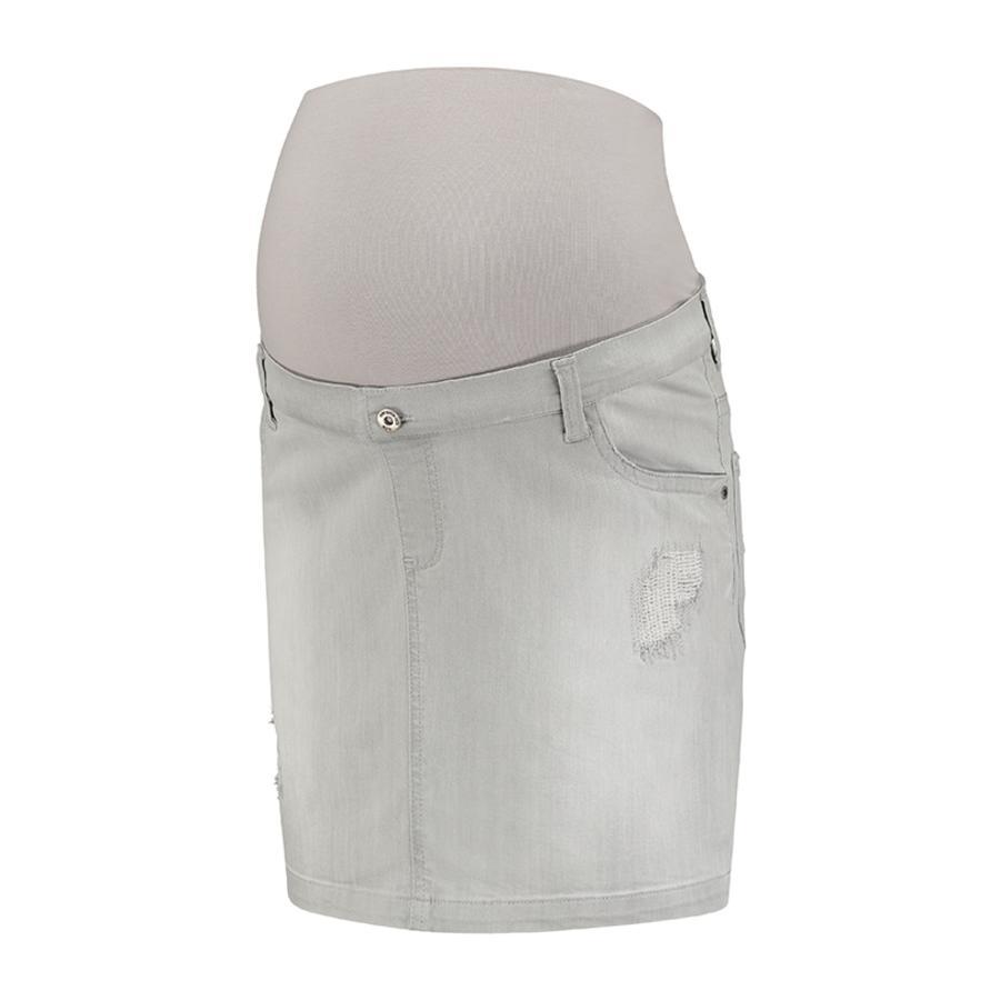 LOVE2WAIT Falda de maternidad vaqueros falda gris Destruido