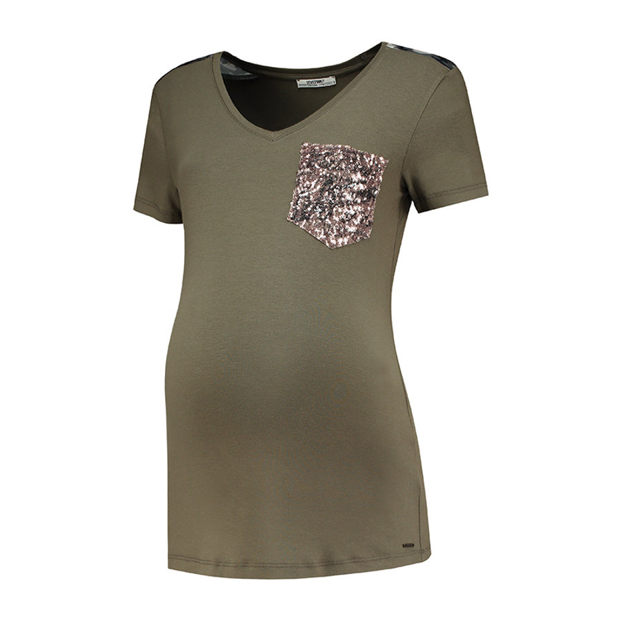 LOVE2WAIT Koszula macierzyńska Kieszeń oliwkowo-zielona