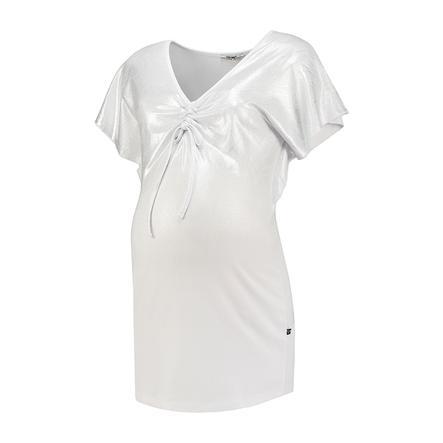 LOVE2WAIT T-shirt Col V Feuille d'Argent Blanc