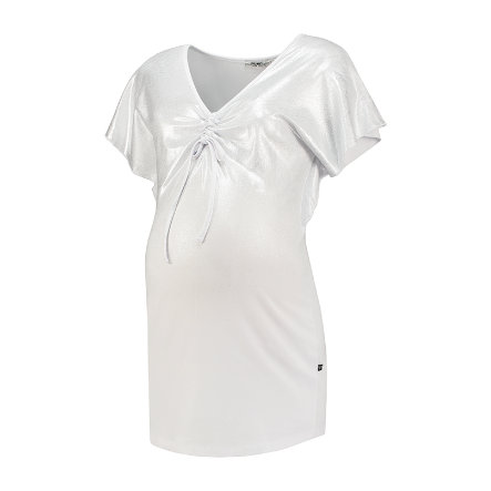 LOVE2WAIT T-shirt V-Ausschnitt Silver Foil White