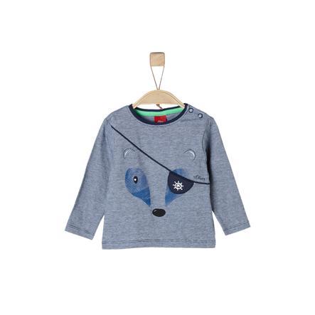 s.Oliver Camisa manga larga azul oscuro melange