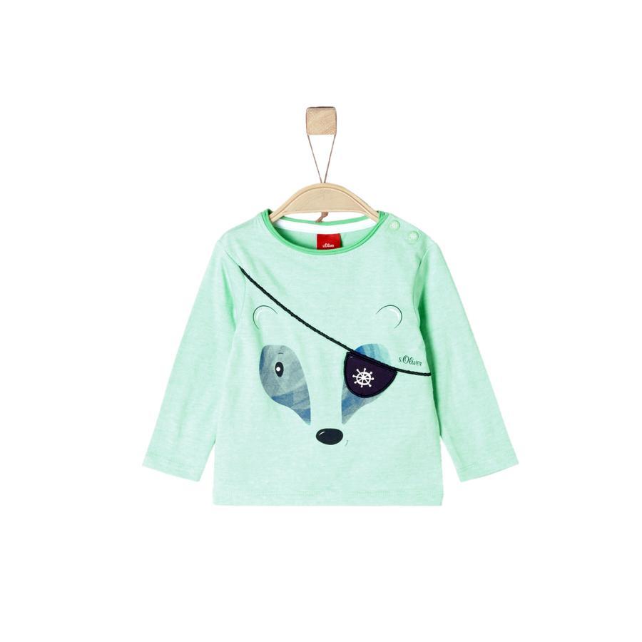 s.Oliver Shirt met lange mouwen licht groen melange