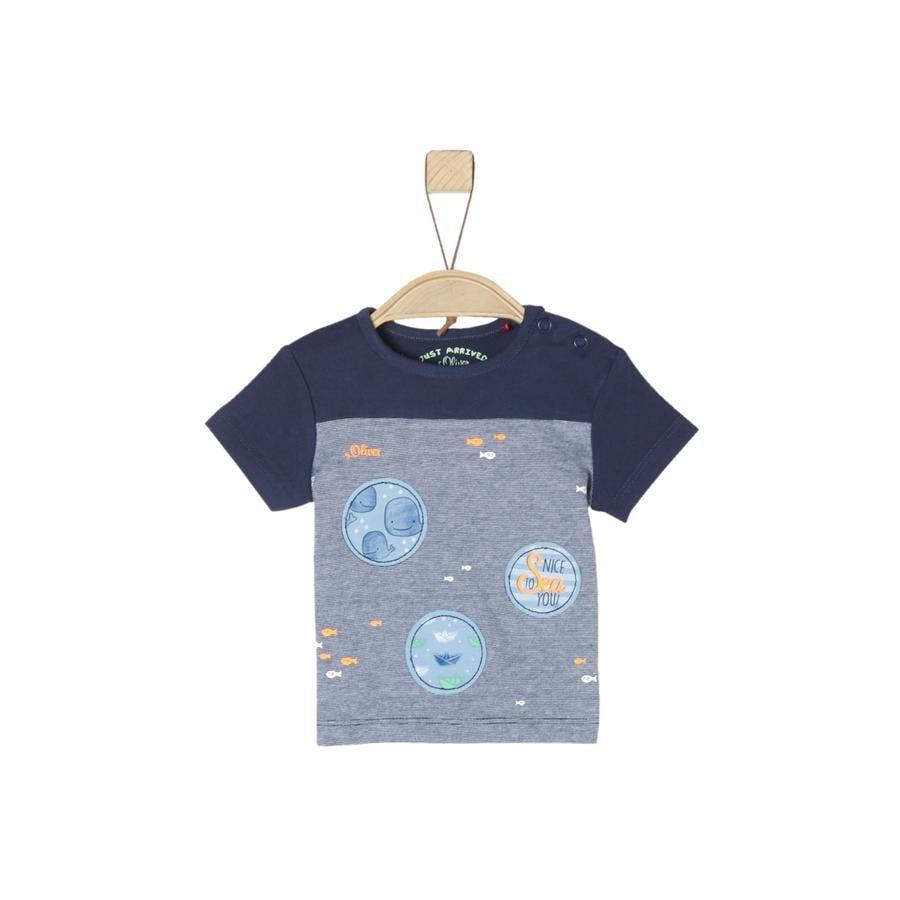 s.Oliver T-Shirt ciemnoniebieski melanż