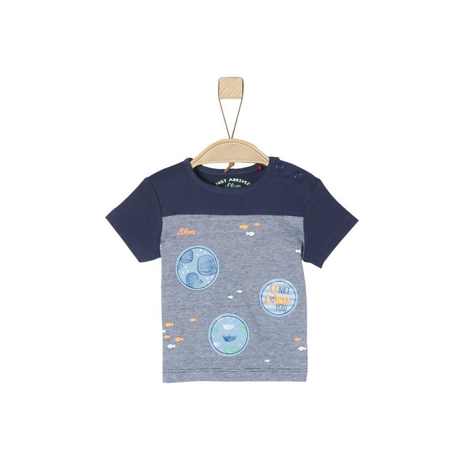 s.Oliver T-Shirt melange azul oscuro
