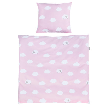 roba Wiegenbettwäsche 2-teilig Kleine Wolke rosa 80 x 80 cm