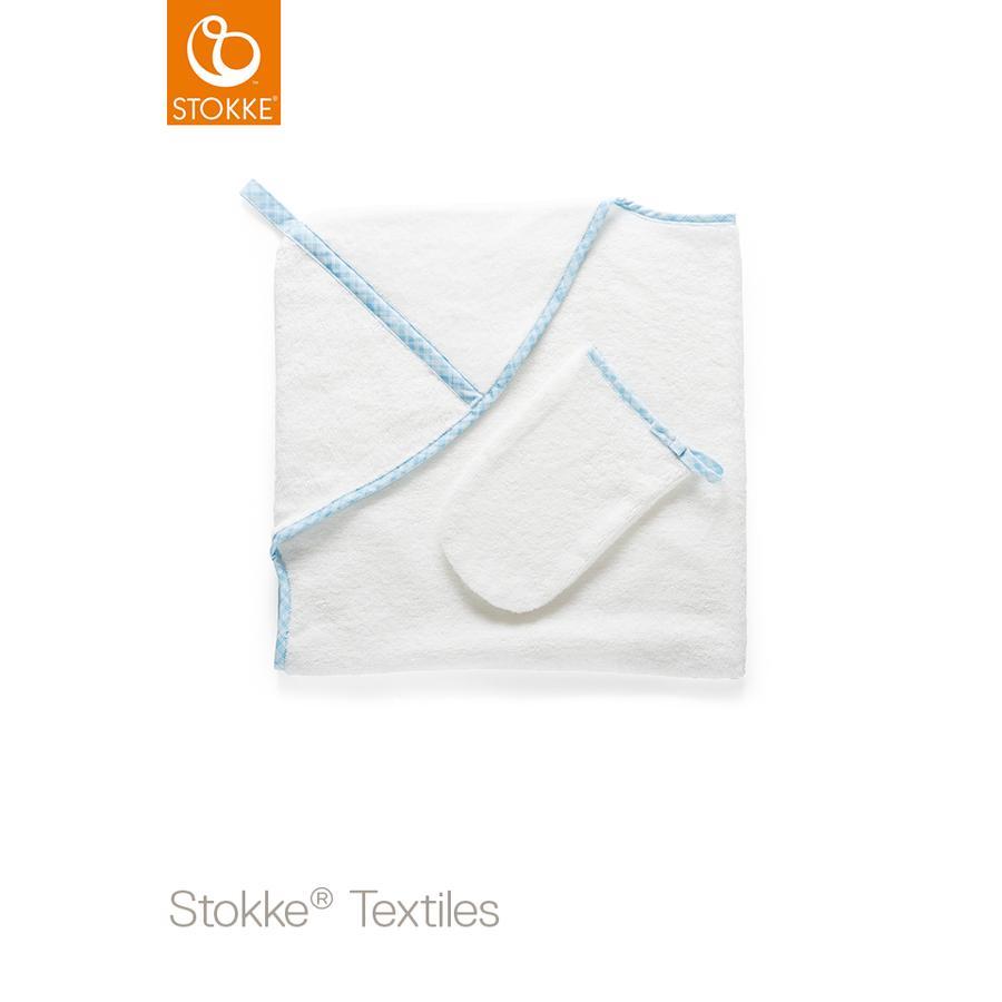STOKKE® Kaputzenbadetuch inkl. Waschtuch Blue Checks