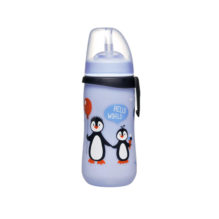 nip Straw Cup sininen PP 330 ml pingviinit