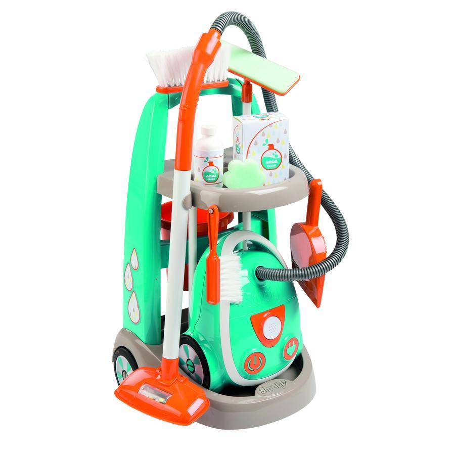Smoby Chariot de nettoyage enfant, aspirateur, bleu/orange
