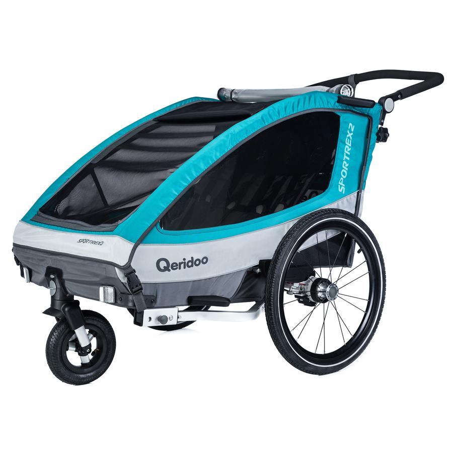 Qeridoo® Kinderfahrradanhänger Sportrex2 Aquamarin