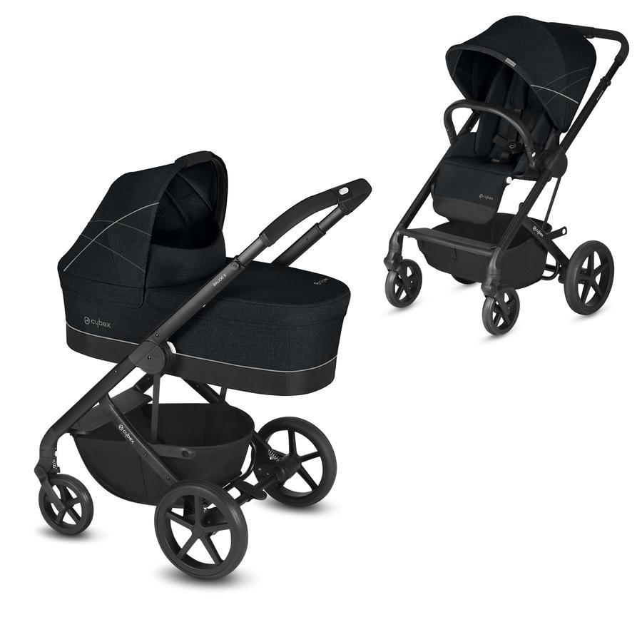cybex GOLD Kinderwagen Balios S und Kinderwagenaufsatz Cot S Lavastone Black inklusive Adapter