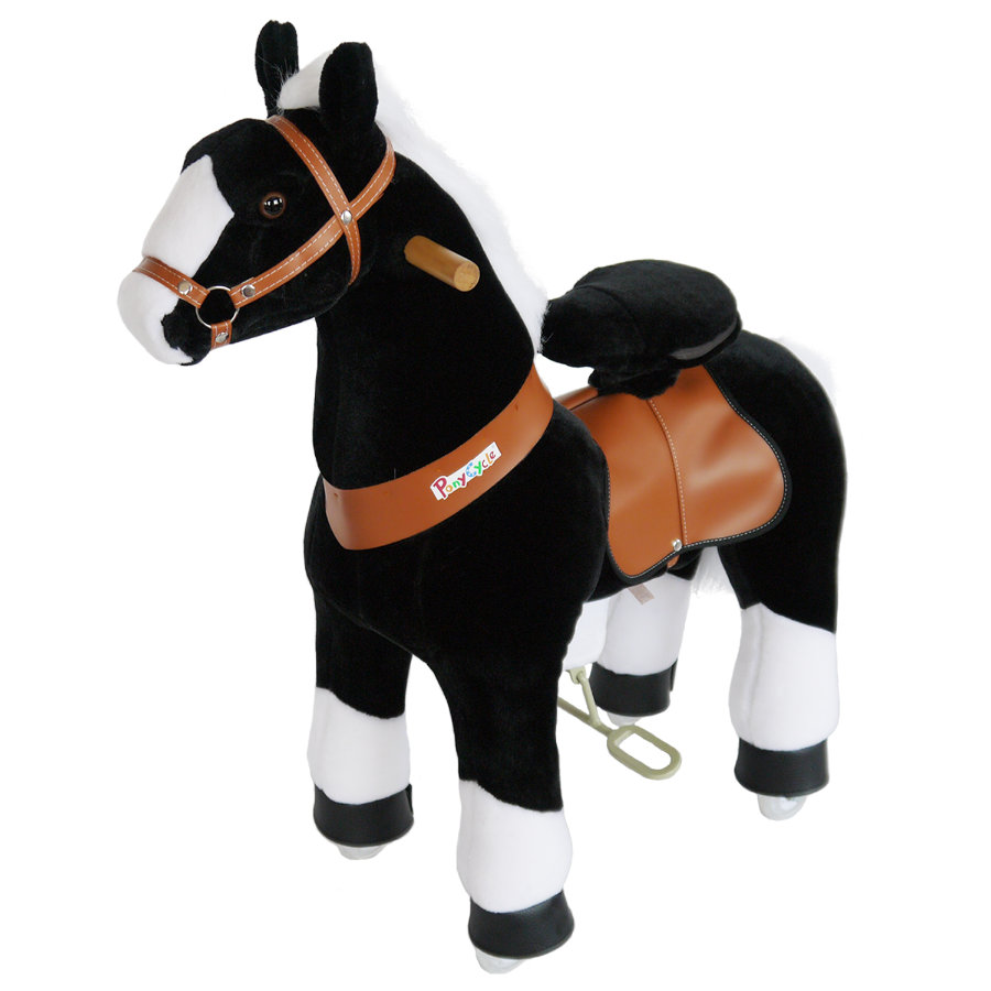 PonyCycle® Cavallo cavalcabile Black Beauty bianco e nero medio, 90 cm