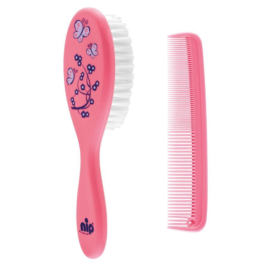 nip Cura dei capelli set spazzola e pettine pink