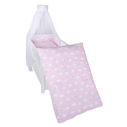 roba ložní sada 4 dílná malé obláčky růžové 100 x 135 cm