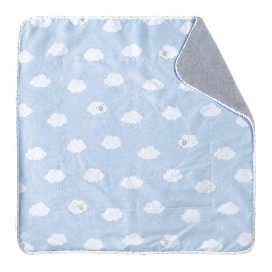 roba hrací deka 80 x 80 cm malé obláčky modrá