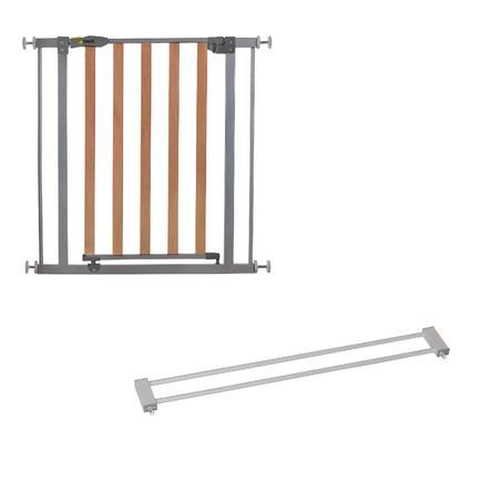 hauck Türschutzgitter Wood Lock Safety Gate silver inklusive Verlängerung 9 cm