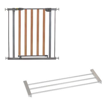 hauck Türschutzgitter Wood Lock Safety Gate silver inklusive Verlängerung 21 cm