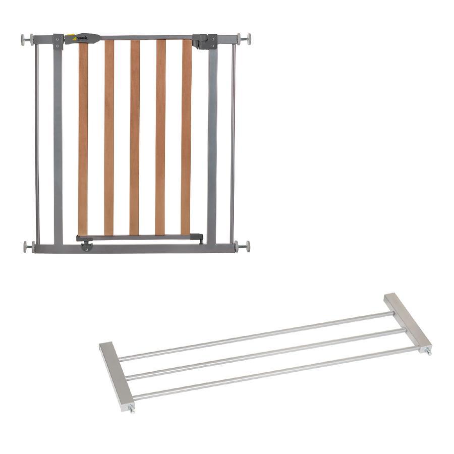 hauck Osłona drzwi Zamek drewniany Safety Brama silver wraz z przedłużeniem 21 c