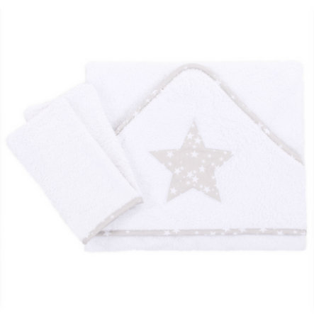 babybay Babyhåndklæde Applikation stjerne perlegrå