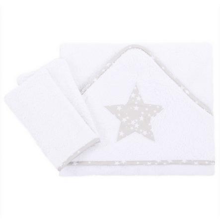 babybay Serviette bébé étoile gris nacré