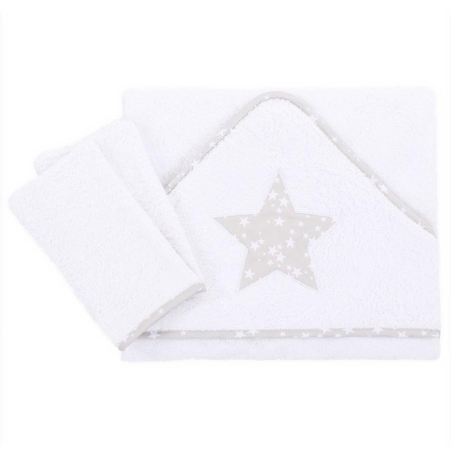 babybay Toalla para bebé Bordado Estrella gris perla