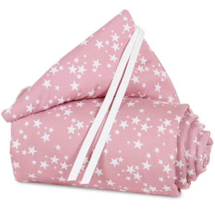 babybay Tour de lit mini/midi rose, étoiles blanches