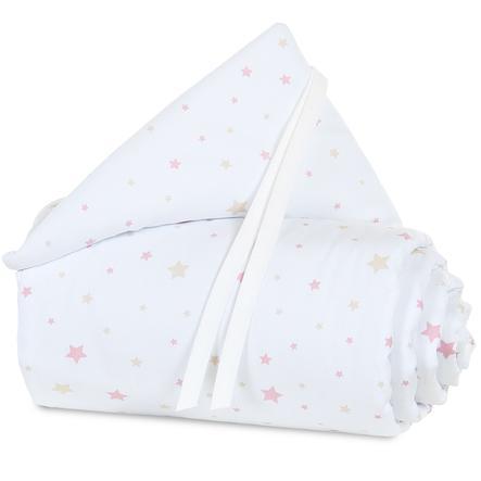 babybay Protector acolchado mini/medio Blanco, estrellas arena/fresa