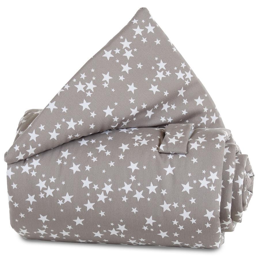 babybay Gitterschutz taupe Sterne weiß